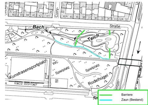 Skizze zur Einfriedung des östlichen Görli-Bereichs