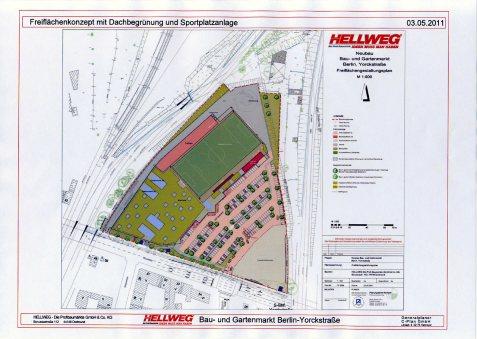 Hellweg-Freiflächenkonzept mit Dachbegrünung und -fußball