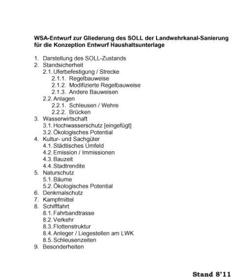 WSA-Gliederung zum SOLL der LWK-Sanierung