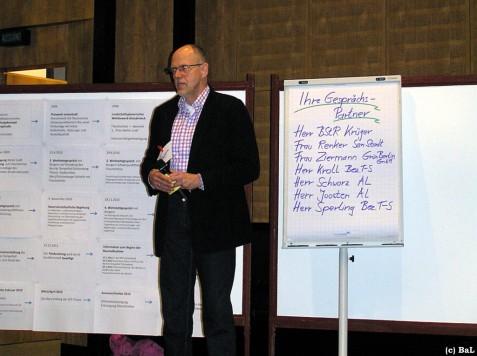 Moderator Seebauer mit Gästeliste