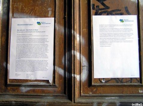BWB-Aushang in Lausitzer Str.am 24. April