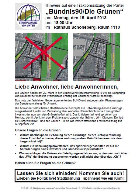 Einladung zur Sitzung der grünen BVV-Fraktion T'hof-Schönebergs, 15.04.13