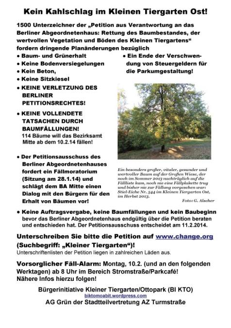 Plakat zur Petition für die Rettung des Kl. Tiergartens Ost