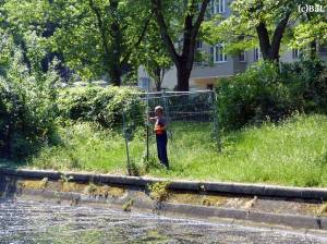 Vorbereitungen zur Baugrunderkundung am Einsteinufer in Charlottenburg