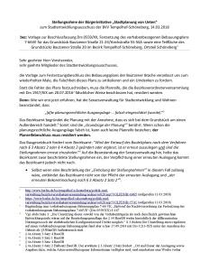 Stellungnahme der BI Stadtplanung von Unten, 14.03.2018